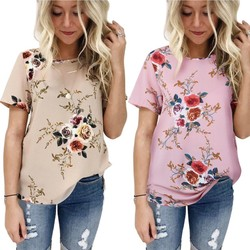 2019 Summer Casual Stylish Women Casual Floral Print Short Sleeve Chiffon Shirts O-Neck Tops Fashion S M L XL XXL XXXL! 3