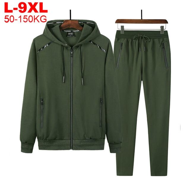 2 Pieces Suits Hoodies Jogger Men Winter Sportwear Sets Hooded Jackets Pants Hip Hop Sports Tracksuit Men's Clothing Large Sizes 1