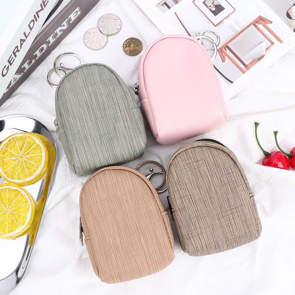 1 PC Women Coin Purse Cute PU Backpack Coin Bags With Key Ring Zipper Mini Wallets Change Money Pouch Bags For Kids Girls