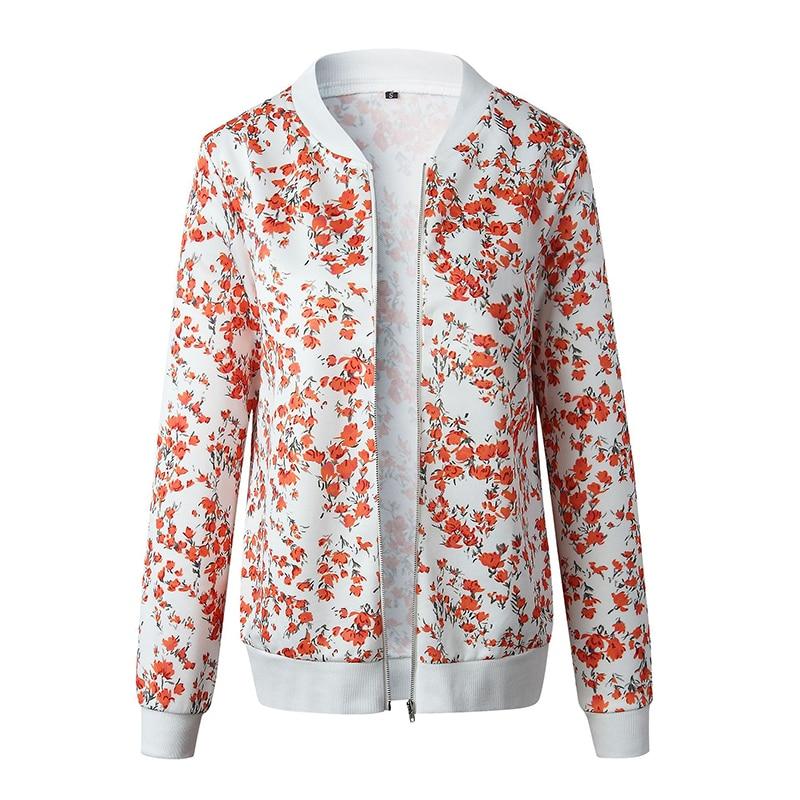 Women's Jackets Retro Floral Printed Ladies Zipper Up Bomber Outwear Autumn Long sleeve Short Thin Slim Casual Pocket Biker coats 6
