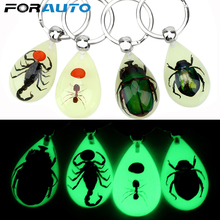 Creative Scorpion Keychain Luminous Artificial Amber Insect Car Keyring Scorpion Ant Amber Key Chains Car Accessories