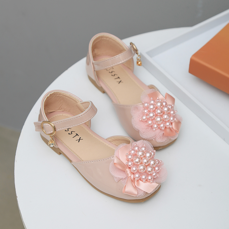 Party Shoes For Girls 2020 Spring Summer Kids Flats Children's Princess Shoes Pearls With Lace Sweet Soft Medium Big Girl Shoes