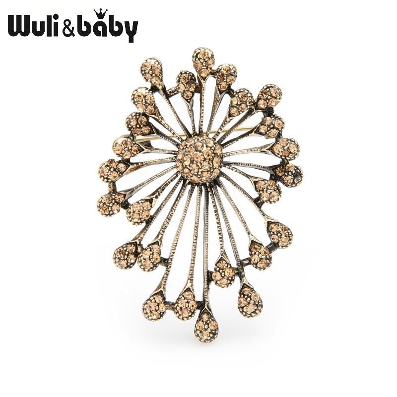 Wuli&baby Retro Gold Silver Firework Flower Brooches Women Men Brooch Pins Gifts