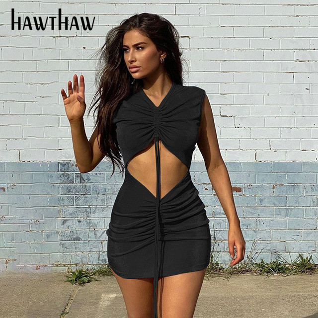 Hawthaw Women Summer Hollow Out Pleated Bodycon V Neck  Package Hip Mini Short Dress Sundress 2021 Female Clothing Streetwear 5