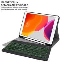 """התאורה האחורית Bluetooth אנגלית מקלדת עבור 10.5"""" 10.2"""" iPad פרו iPad 3 אוויר iPad Slot 2019 7 צבעי התאורה האחורית Tablet עור מקלדת Case פן (4)"""