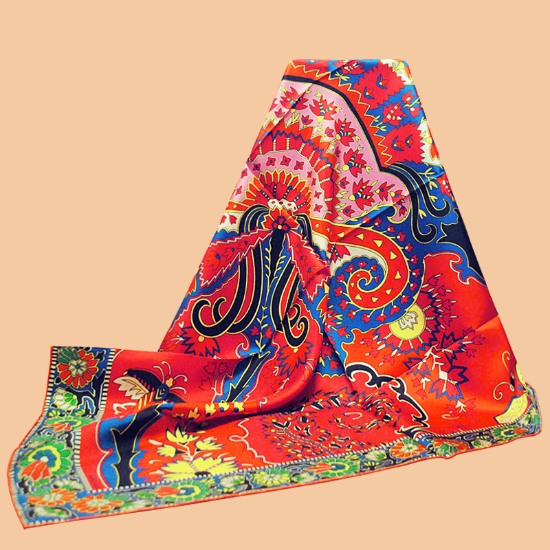 "HuaJun 2 Store Super Eye catching color matching ""Paisley from Paisley"" 90 silk square scarf Twill inkjet scarf Hand rolled-in Women's Scarves from Apparel Accessories"