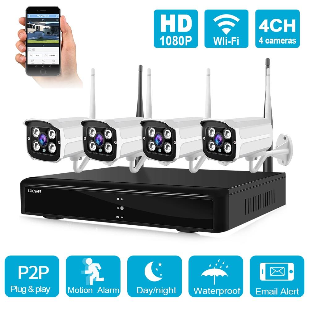 4CH 1080P WiFi IP caméra extérieure NVR HD IR anti-vandalisme étanche vidéo sans fil CCTV système de Surveillance de sécurité Kit