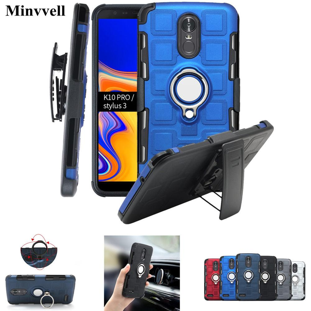 for LG K10 Pro K11 K12 Plus K4 K8 2017 2018 Case with Swivel Belt Clip For LG K40 K4 K8 K11plus <font><b>K12plus</b></font> Kickstand Magnetic Cover image