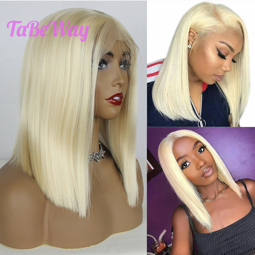 TaBeWay 13x6 Lace Front Wigs Blonde Bob Hair Wig Heat Resistant #613 Short Straight Synthetic Lace Front Wigs for Fashion Women