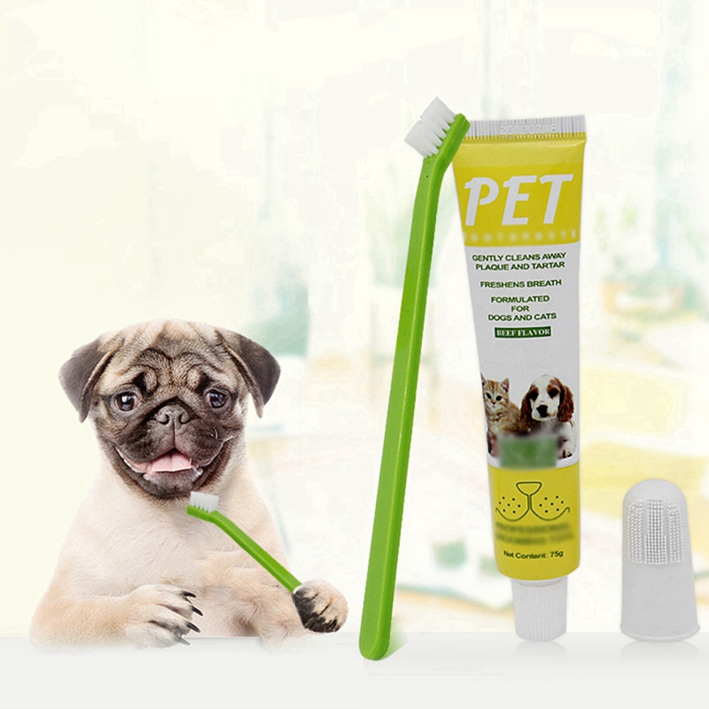 Dog Teeth Cleanser Dog Teeth Cleaning Kit Three Sided Pet Toothbrush Toothpaste Finger Toothbrush For Puppy Cats image