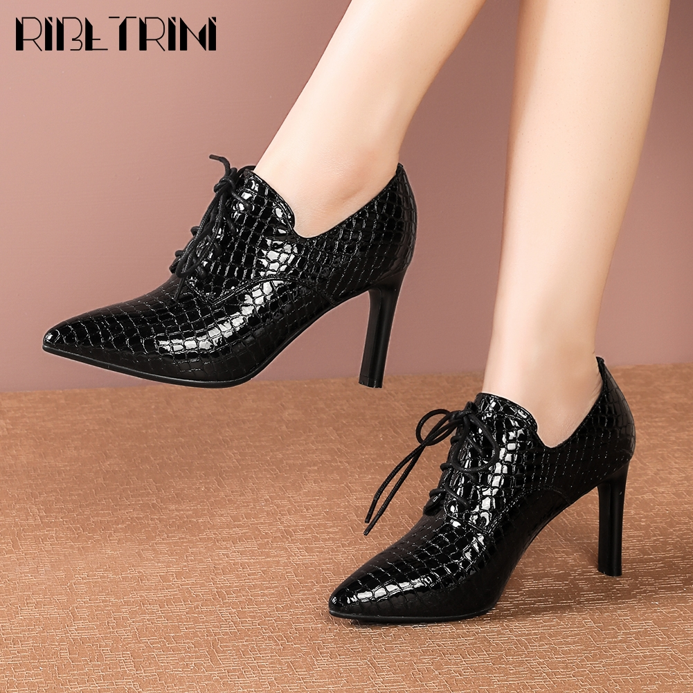 RIBETRINI Ladies Pointed Toe Patent Leather Shoes Woman Spring Office Fashion Fretwork Dress Pumps Women High Heels Pumps