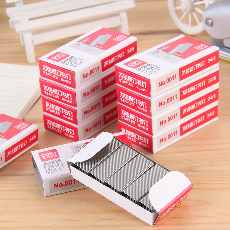 Wholesale Deli 0011 Staples 24/6 Stainless Steel Staples/Staples Can Order 25 Pieces Of Paper
