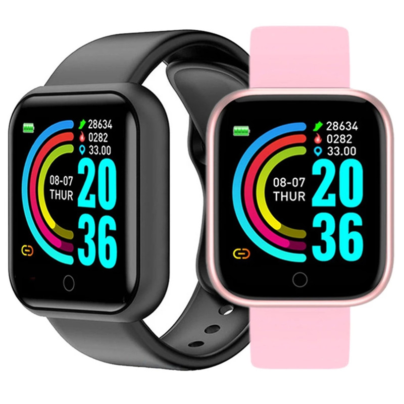 D20 Children Men Women Smart Bracelets Fitness Sport Watches Y68 Pedometers Color Screen Sport Walk Step Counter Smart Wristband