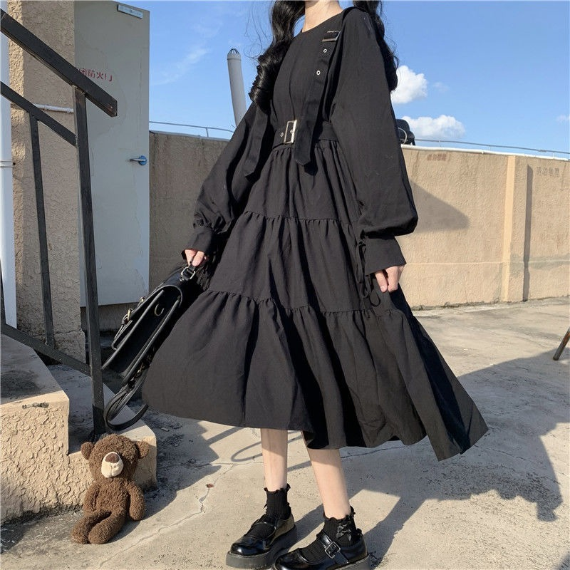 QWEEK Gothic Style Dress Women Harajuku Gothic Lolita Kawaii Dress Punk Cute Long Sleeve Black Midi Dress 2021 Emo Mall Goth 5