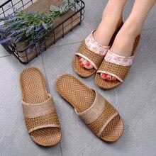 цены 2019 Home Slippers Women & Men Anti-slip Linen Indoor Summer Open Toe Flats Shoes Slippers