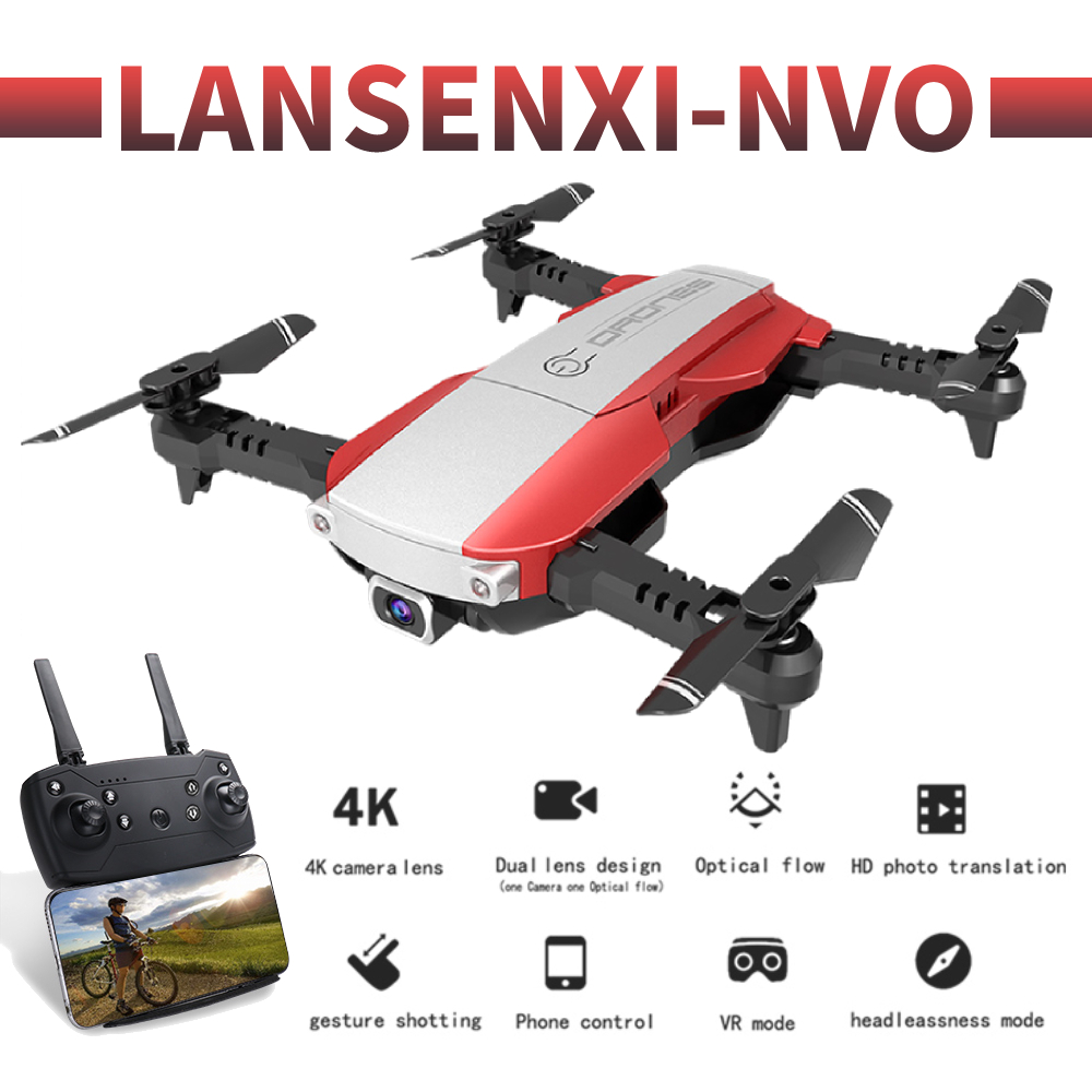 LANSENXI-NVO profissional camera drone 1080p 4K HD WiFi FPV Brush motor propeller Long Battery air RC dron Quadcopter