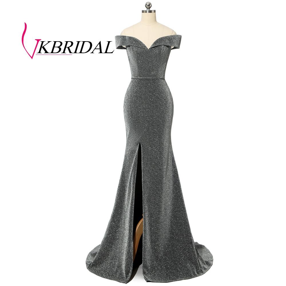 VKBRIDAL Off Shoulder Grey Evening Dresses 2019 Sexy Slit Sparkle Glittery Fabric Formal Prom Gowns Vestido Longo Festa