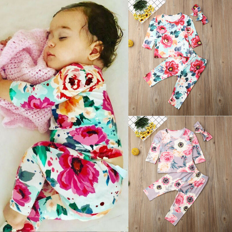 CANIS Autumn Kids Toddler Baby Girl Outfits Clothes Long Sleeve Floral Printed Tops Romper+Pants 3pcs Set