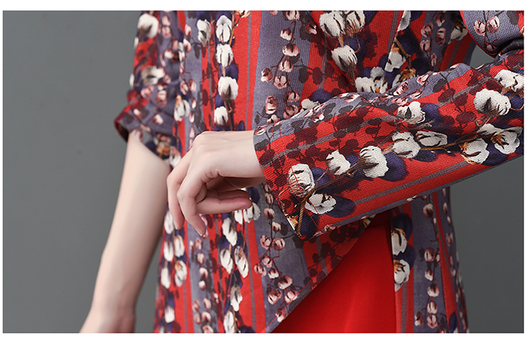 Printed Two Piece Sets Outfits Women Plus Size Splicing Long Tops And Wide Leg Pants Suits Elegant Office Fashion Korean Sets 62