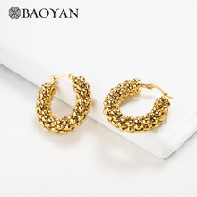 Baoyan Vintage Gold Hoop Earrings Small Circle Round Hoop Earrings Wholesale Mini Golden Stainless Steel Hoop Earrings For Women(China)