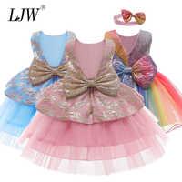 Vestido de encaje para niña de 9M-24M, 1 año, para cumpleaños, fiesta de cumpleaños, traje de princesa, novedad de 2020