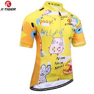 X-TIGER Summer Child Cycling Clothing Boys Girls Cycling Jerseys Racing Bike Uniforms Kids Cycling Clothing MTB Bicycle Jersey