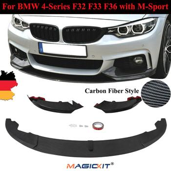 MagicKit Carbon Fiber Look Front DIFFUSER Spoiler Splitter Lip Chin for BMW F32 M-Sport image