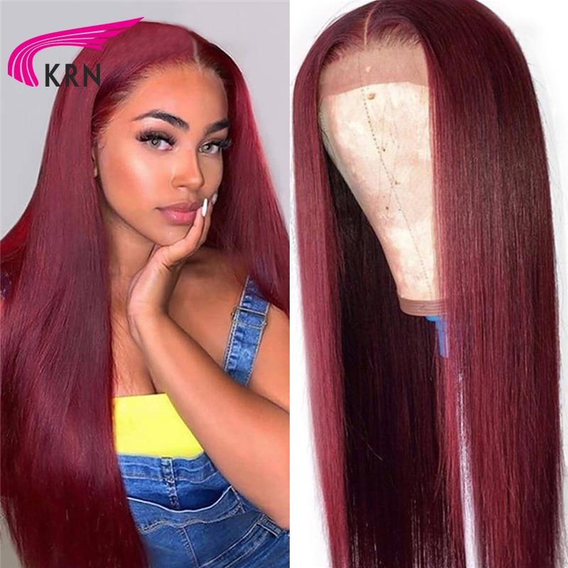 Krn 99j ombre pré arrancadas 13x4 perucas frontal do cabelo humano do laço com o cabelo do bebê em linha reta remy cabelo perucas brasileiras do laço 180 densidade