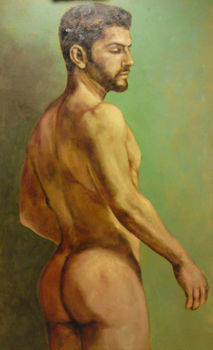 "HIGH QUALITY PORTRAIT OIL PAINTING ON CANVAS NUDE MALE"" 24""X36"""