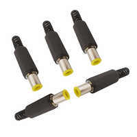 6.5 x 4.4mm with 1.3mm Pin DC Power Plug 6.5 * 4.4 Male Welding with 1.3mm Tip DC Plug Jack Charger Yellow for DIY Audio