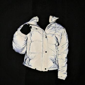 Women Light Reflective Padded Jacket Short Tops Warm Winter Clothes Zipper Oversize Loose Outwear Coats Casual Drop Shipping
