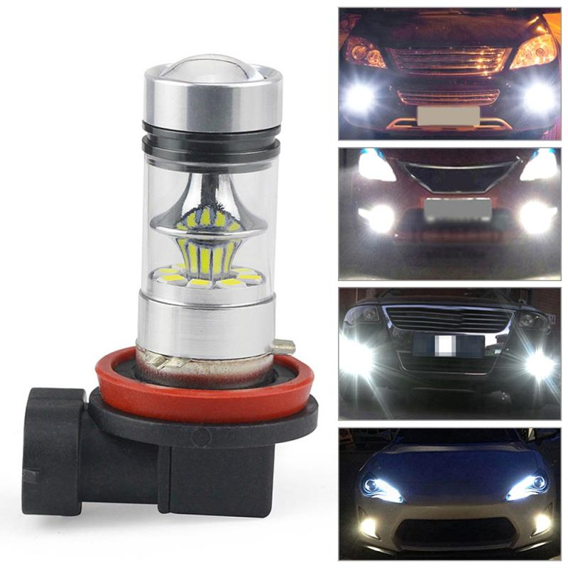 New 1PC H11 H8 LED Car Fog Light Lamp 100W 2323 Driving DRL 6000k Super White Bulb Parking Light Turn Side Lamps Signal Light