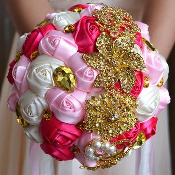 Luxury Waterfall Crystal Wedding Bouquets Bling Rhinestone Flowers Bridal Bridesmaid Flower Bouquet