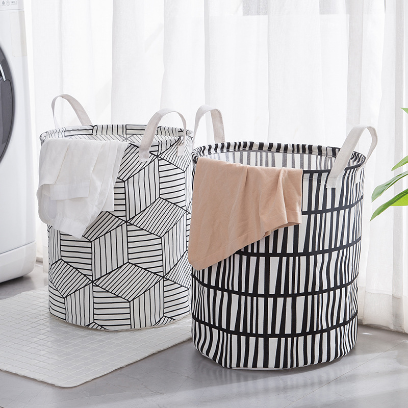 Folding Laundry Basket Round Storage Bin Bag Large Hamper Collapsible Clothes Toy Holder Bucket Organizer Large Capacity