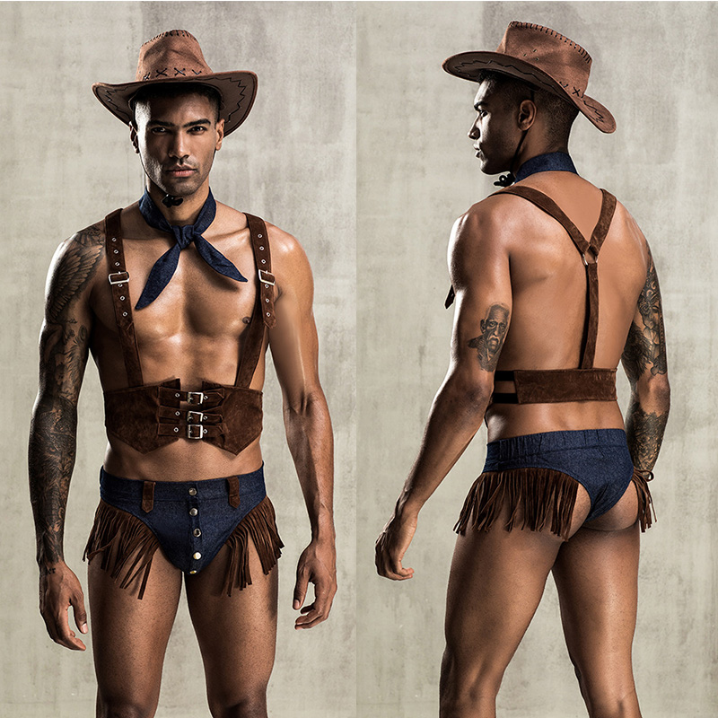 Man Sexy Uniform Adult Men Western Cowboy Cosplay Costumes Men's Sexy Role Play Erotic Fancy Gay Sexy Clubwear Uniform