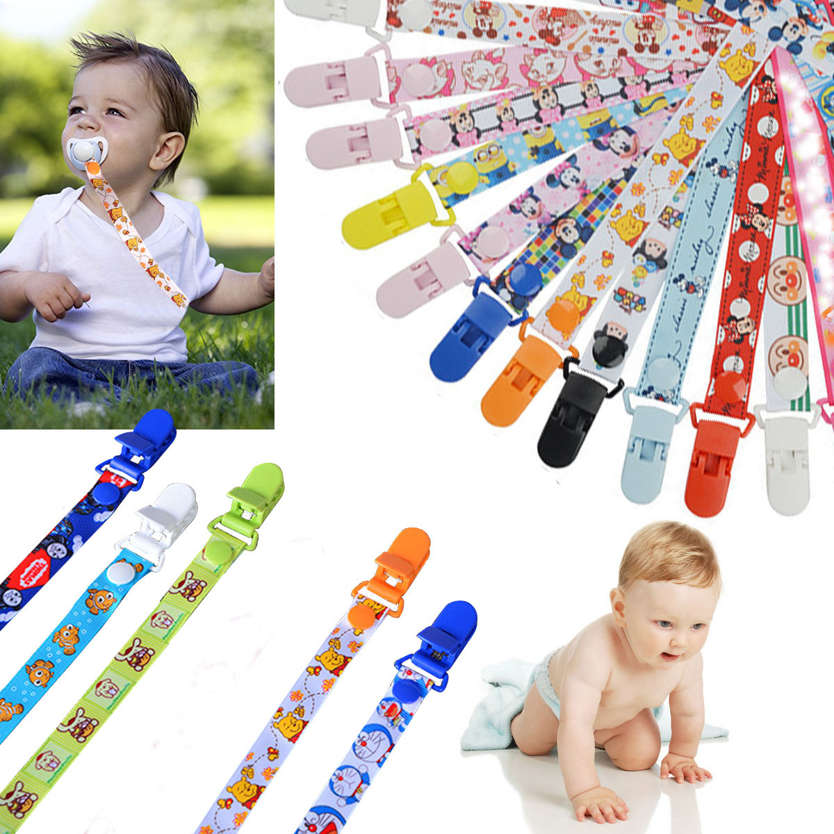 Cartoon Print Baby Pacifier Chain Ribbon Pacifier Clips Holder Dummy Clip Nipple Holder For Nipples Children Pacifier Clip K0033