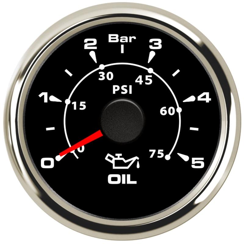 lowest price 52mm Pointer Oil Pressure Gauges 0-5Bar Waterproof Oil Pressure Meters 0-75psi LCD for Auto Truck Boat Vessel Yacht RV