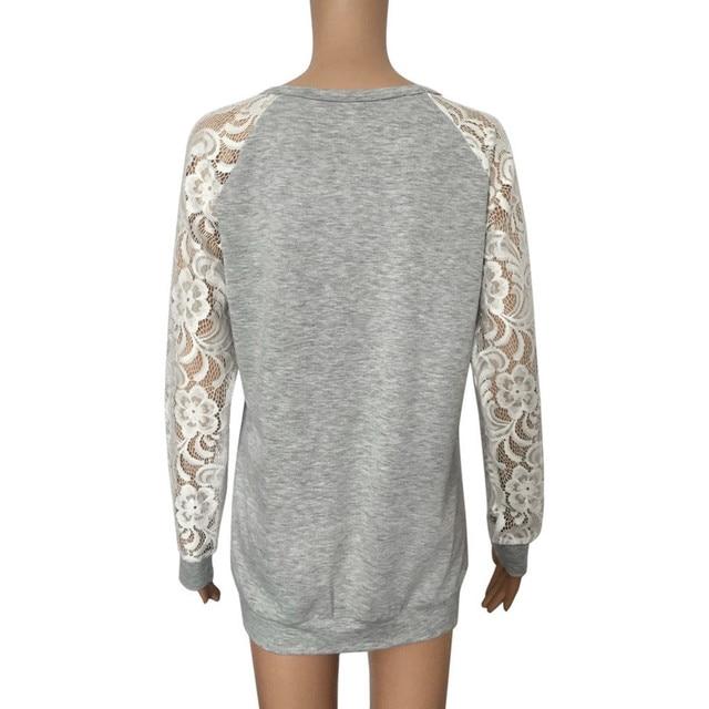 #R40 Lace Floral Splicing Shirt Blouses Women Gray O Neck Long Sleeve Shirts Blouse Tops Women Blusas Mujer De Moda 2020 4