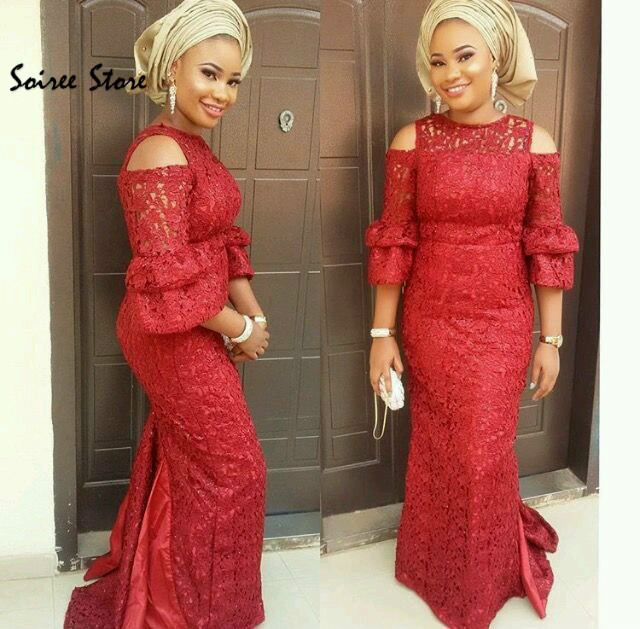 Elegant Maroon Mermaid Prom Dresses Full Lace African Evening Dress With Sleeves Floor Length Long Formal Holiday Party Gowns