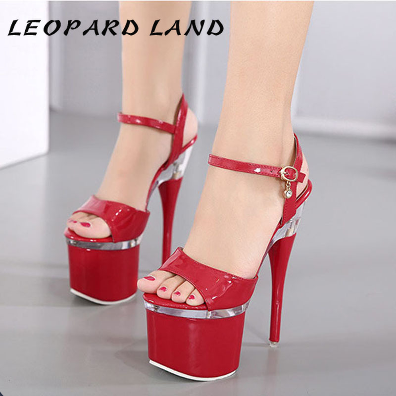 LEOPARD LAND  34-38 Women Sexy Party Super High Heels Platform Fish Toe Sandals For Women 7.5cm Platfrom 14cm Sandals LFD-10368