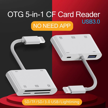 C76 For iPhone CF XD Card Reader 5 in 1 Lightning USB3.0 Connector TF SD Camera XD Card Adapter High Current 500mA