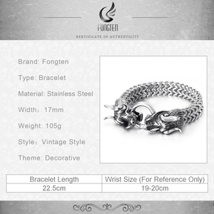 Image 5 - Fongten Hiphop Dragon Mesh Chain Bracelet Quality Stainless Steel Heavy Charm Punk Mens Fashion Jewelry Male Special Bracelets