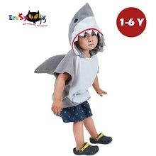 Eraspooky 1 6Years Nette Haube Shark Cosplay Halloween Kostüm Für Kinder Kinder Tier Kleinkind Karneval Party Cartoon Fancy Kleid