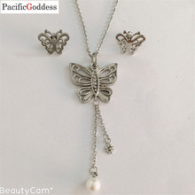 цены на very nice long necklace trendy earrings stainless steel jewelry set butterfly sharp  в интернет-магазинах