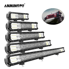 ANMINGPU 3-Row Combo Beam LED Light Bar Offroad 15 20 24 26 30inch 12V 24V LED Bar Work Light for Truck 4x4 Jeep Car ATV SUV co light 12d 3 row car led light bar combo 32 405w led work light for tractor truck atv jeep led bar offroad auto driving light