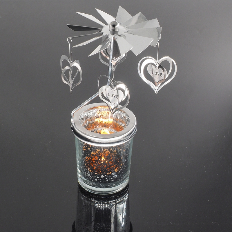Rotary Spinning Tealight Candle Metal Tea Light Holder Carousel Home Decoration For Christmas Holiday Wedding Decoration
