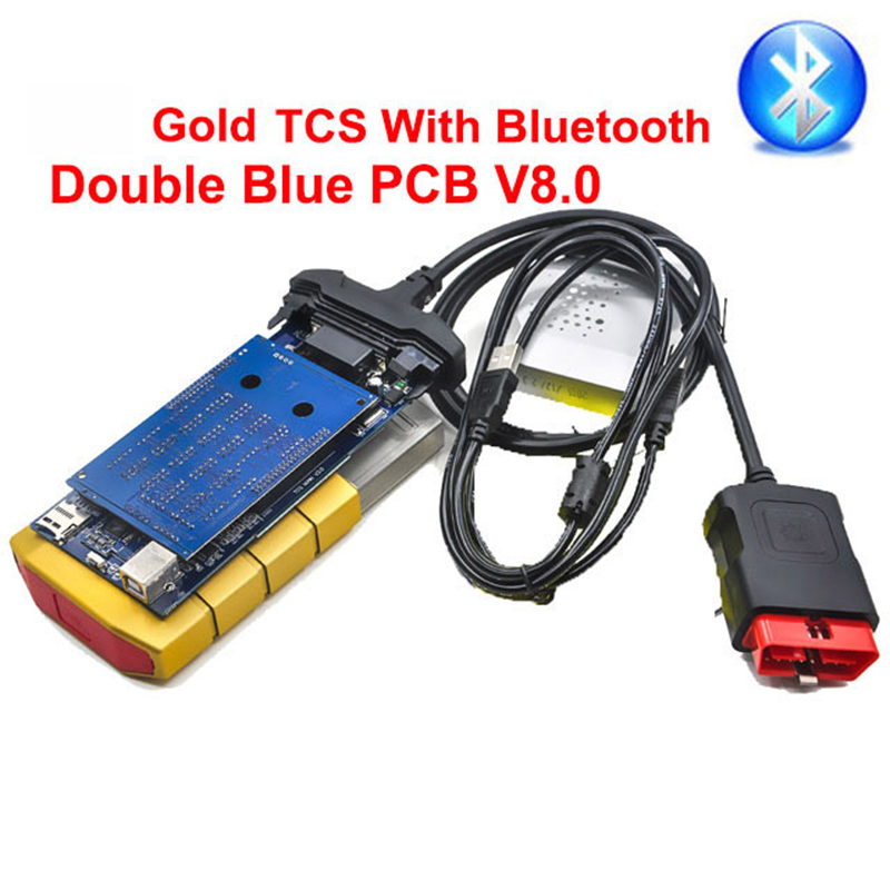 Gold color <font><b>VD</b></font> tcs with bluetooth new vci for delphis <font><b>vd</b></font> ds150 <font><b>ds150e</b></font> diagnostic car truck diagnostic tool obd2 scanner tool image