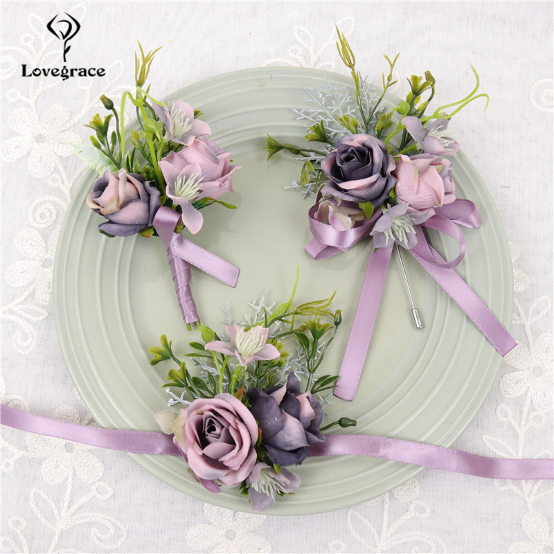 Silk Roses Wedding Boutonnieres For Groom Best Man Bridesmaids Wrist Bracelet Hand Flower Prom Party Suit Decor Wedding Flower