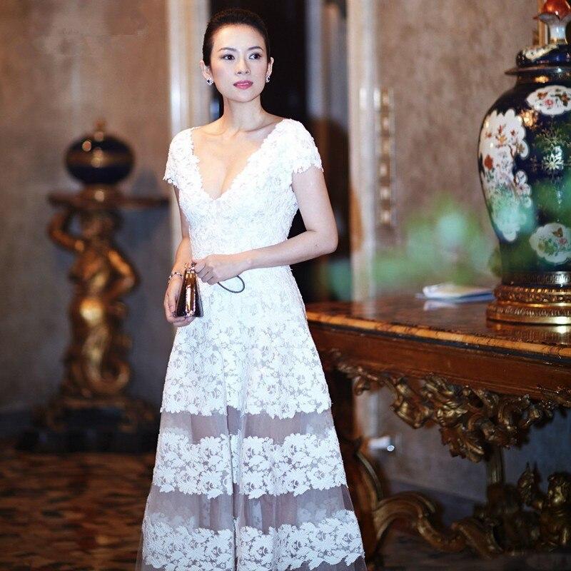 Vestidos De Vestido De Noiva Longo Lace Appliques Long Sexy Illusion White Formal Party Prom Gown 2018 Bridesmaid Dresses
