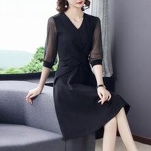 2021 Spring Vintage Black 3XL Plus Size Sexy Vestidos Summer Korean Casual Solid V-Neck Midi Dress Women Bodycon Party Dresses